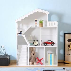 White Dollshouse Bookshelf with Balcony - The Twinkle Toy Box Company