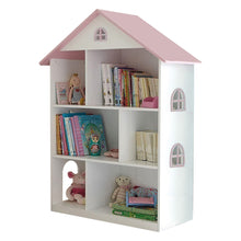 White Dollshouse Bookcase with Pink Roof - The Twinkle Toy Box Company