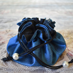 Drawstring Jewelry Pouch in Silk Blue & Black