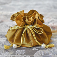 Drawstring Jewelry Pouch in Silk Gold