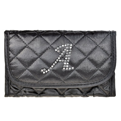 Cosmetic Bag a with Mirror, Quilted Black Satin, Single Upper Case Letter Monogram in Swarovski Rhinestones