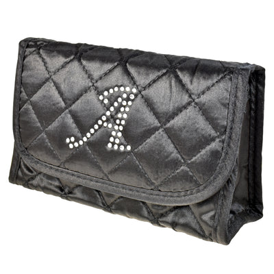 Cosmetic Bag with Mirror, Quilted Black Satin, Single Upper Case Letter Monogram in Swarovski Rhinestones