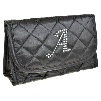 Cosmetic Bag with a Mirror, Quilted Black Satin, Single Upper Case Letter Monogram in Swarovski Rhinestones
