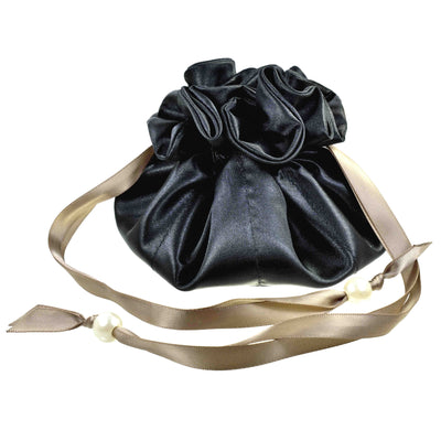 Satin Drawstring Jewelry Pouch, 16 Pockets, Black