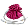 Drawstring Jewelry Pouch, Satin, Fuchsia and Silver, Closed View