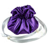 Satin Jewelry Pouch, 16 Pockets, Purple & Silver