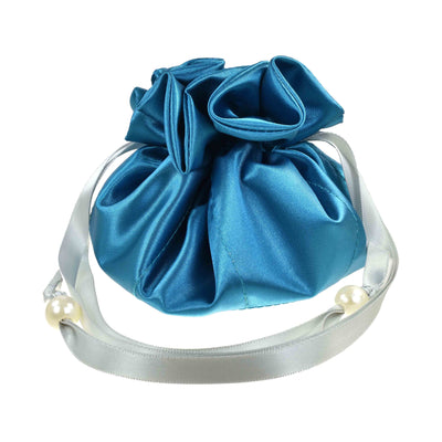 Satin Jewelry Pouch, 16 Pockets, Turquoise-Teal & Silver