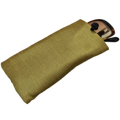 Poly Dupioni Silk Soft Eyeglass Case, Gold & Black