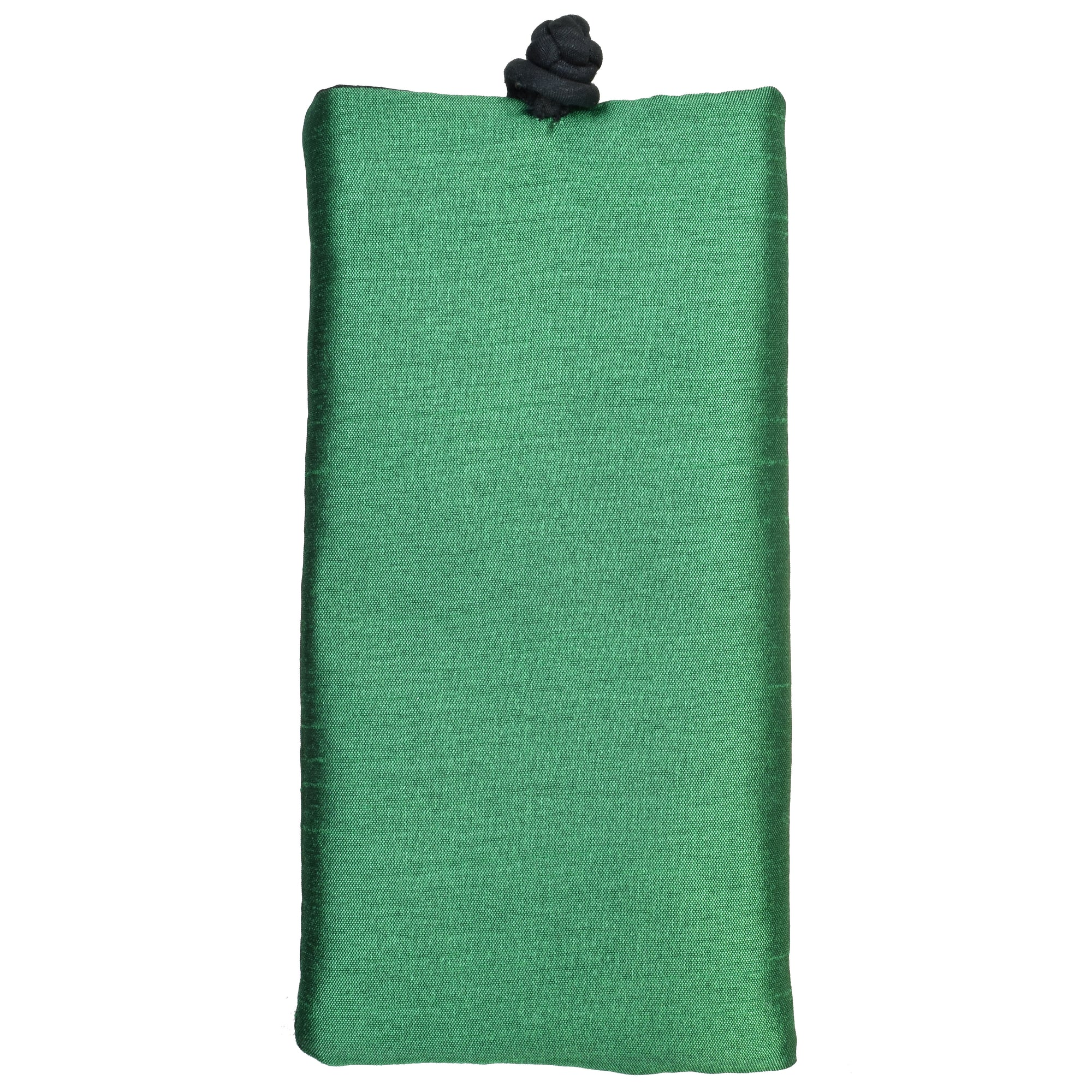 Poly Dupioni Silk Soft Eyeglass Case, Green & Black
