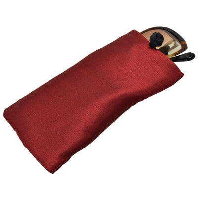 Poly Dupioni Silk Soft Eyeglass Case, Maroon & Black