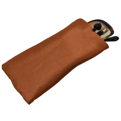 Poly Dupioni Silk Soft Eyeglass Case, Rust & Black