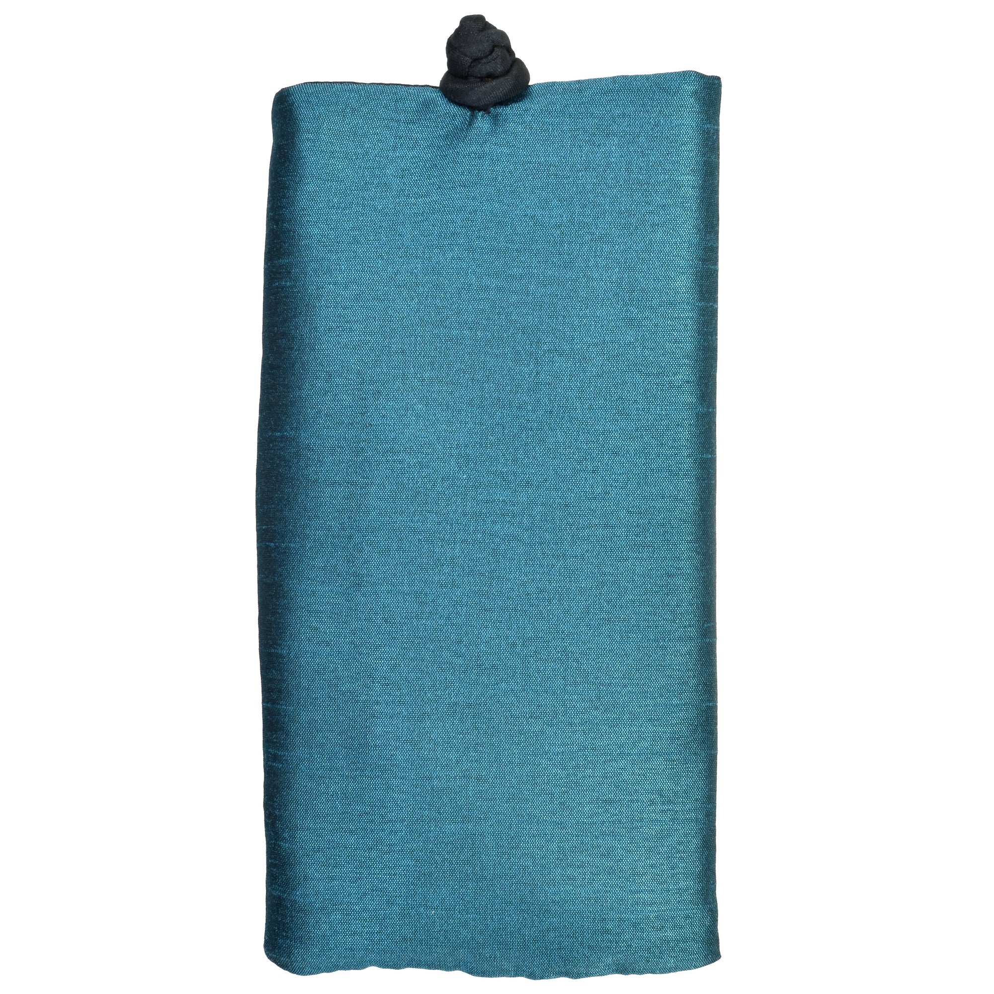 Soft Eyeglass Case (Sunglasses Pouch), Knot and Loop Closure, Poly Dupioni Silk, Teal & Black