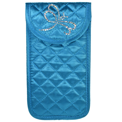Soft Eyeglass Case, Quilted Turquoise-Teal Satin, Dragonfly Design in Swarovski Rhinestones