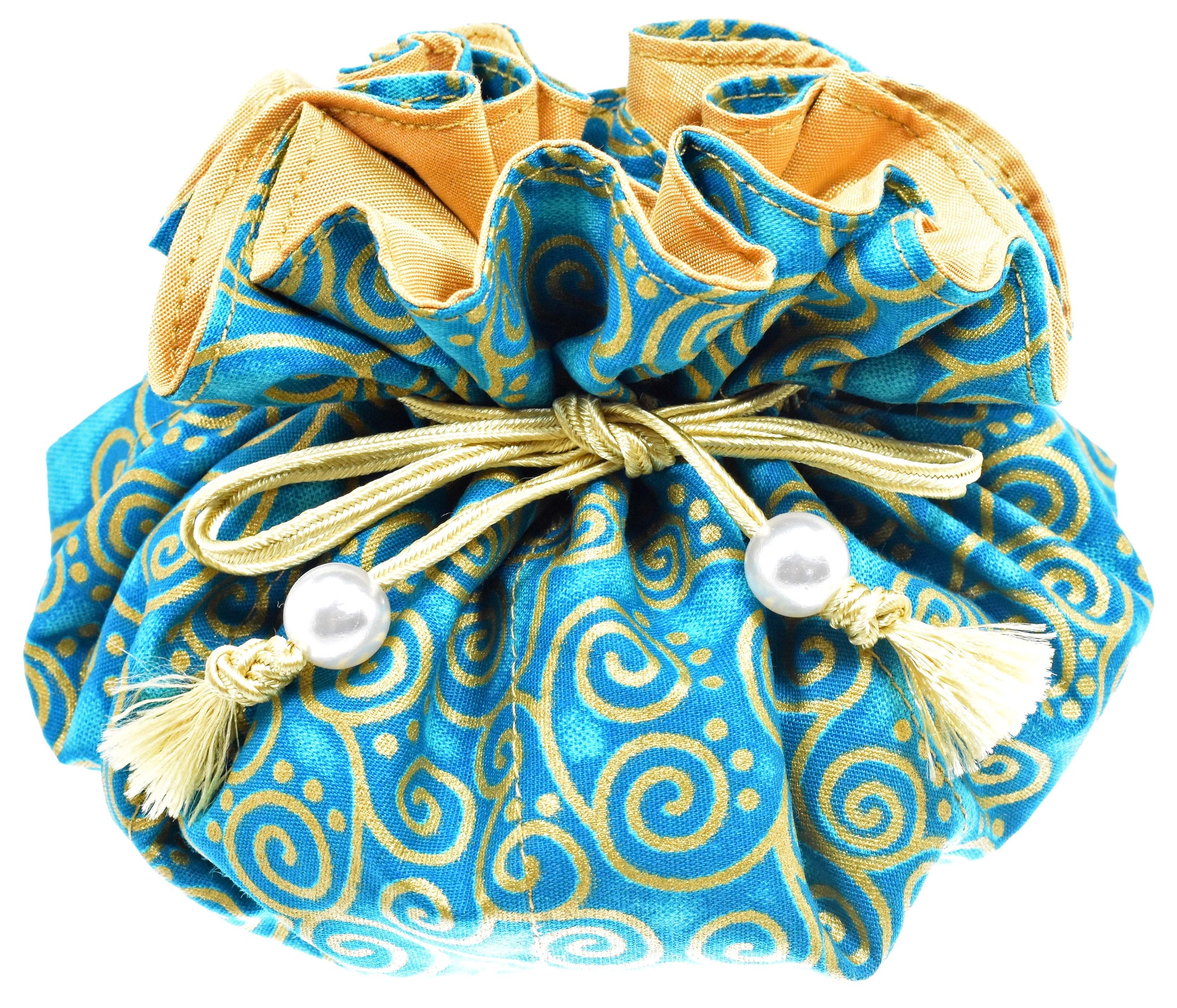 Cotton Jewelry Pouch, 8 Pockets, Large Size, Aquamarine