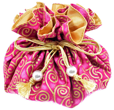 Cotton Jewelry Pouch, 8 Pockets, Large Size, Fuchsia Pink