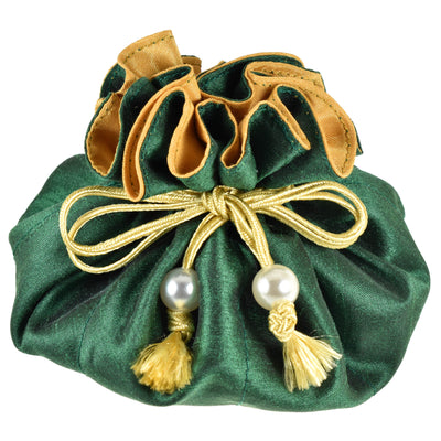 Poly Dupioni Silk Jewelry Pouch, 8 Pockets, Green & Gold
