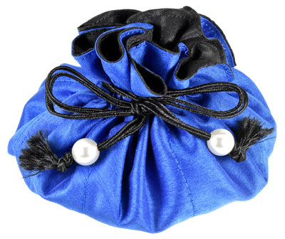 Poly Dupioni Silk Jewelry Pouch, 8 Pockets, Large Size, Cobalt & Black