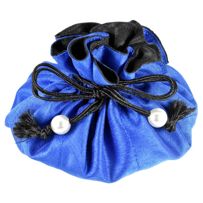 Poly Dupioni Silk Jewelry Pouch, 8 Pockets, Medium Size, Cobalt & Black