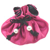 Poly Dupioni Silk Jewelry Pouch, 8 Pockets, Fuchsia & Black