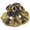 Handmade Drawstring Jewelry Pouch, 8 Pockets, Poly Dupioni Silk, Gold