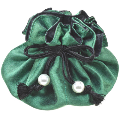Handmade Drawstring Jewelry Pouch, 8 Pockets, Poly Dupioni Silk, Green