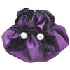 Poly Dupioni Silk Jewelry Pouch, 8 Pockets, Purple & Black