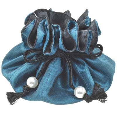 Poly Dupioni Silk Jewelry Pouch, 8 Pockets, Teal & Black