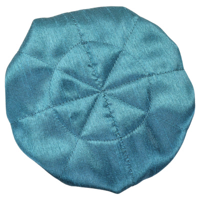 Handmade Drawstring Jewelry Pouch, 8 Pockets, Poly Dupioni Silk, Teal