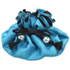 Poly Dupioni Silk Jewelry Pouch, 8 Pockets, Turquoise & Black