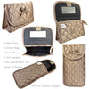 Quilted Satin Cosmetic Bag with a Mirror & Soft Eyeglass Case Essential Duo Set, Bronze
