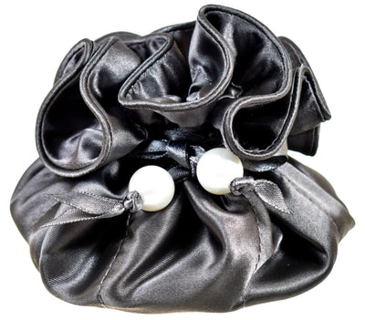 Satin Jewelry Pouch, 16 Pockets, Charcoal Gray