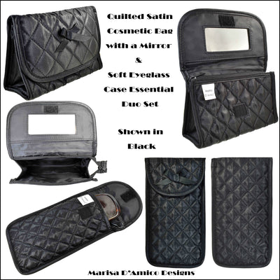 Quilted Satin Cosmetic Bag with a Mirror & Soft Eyeglass Case Essential Duo Set, Black