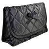 Quilted Satin Cosmetic Bag with a Mirror, Black, Front View