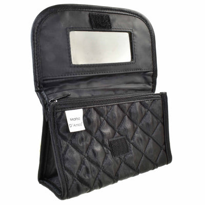 Quilted Satin Cosmetic Bag with a Mirror, Black, Open View