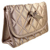 Quilted Satin Cosmetic Bag with a Mirror, Bronze, Front View