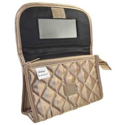 Quilted Satin Cosmetic Bag with a Mirror, Bronze, Open View