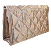Quilted Satin Cosmetic Bag with a Mirror, Bronze, Back View