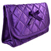 Quilted Satin Cosmetic Bag with a Mirror, Purple, Front View