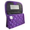 Personalized & Monogrammed Cosmetic Bag with a Mirror, Quilted Purple Satin, Cursive Single Upper Case Letter in Swarovski Rhinestones
