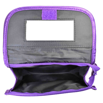 Quilted Satin Cosmetic Bag with a Mirror, Purple, Open View