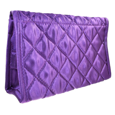 Quilted Satin Cosmetic Bag with a Mirror, Purple, Back View