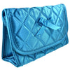 Quilted Satin Cosmetic Bag with a Mirror, Teal, Front View