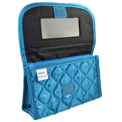 Personalized & Monogrammed Cosmetic Bag with a Mirror, Quilted Turquoise-Teal Satin, Cursive Single Upper Case Letter in Swarovski Rhinestones
