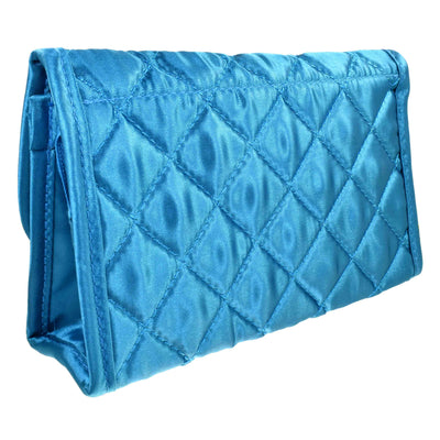 Quilted Satin Cosmetic Bag with a Mirror, Teal, Back View