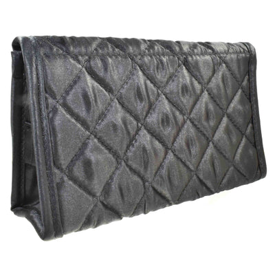 Quilted Satin Cosmetic Bag with a Mirror, Black, Back View