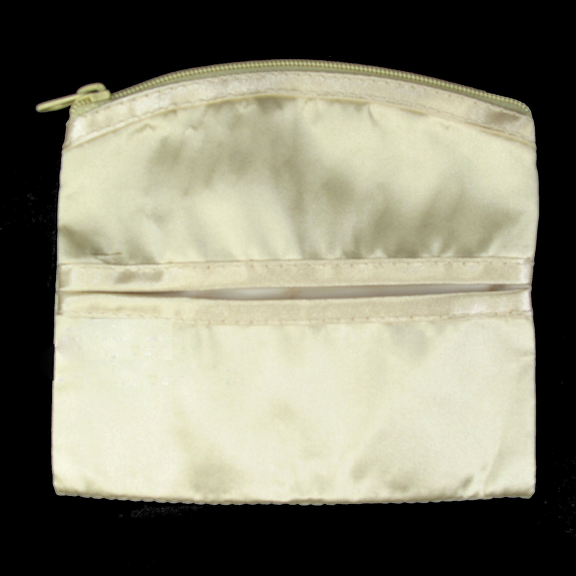 Coin Purse & Pouch, Satin Fabric, Ivory