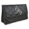 Cosmetic Bag with Mirror, Quilted Black Satin, Dragonfly in Swarovski Rhinestones