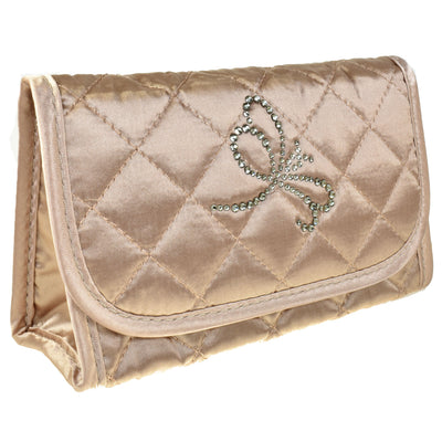 Cosmetic Bag with Mirror, Quilted Bronze Satin, Dragonfly in Swarovski Rhinestones