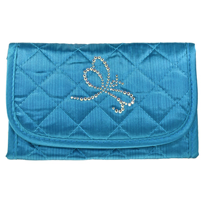 Cosmetic Bag with Mirror, Quilted Turquoise-Teal Satin, Dragonfly in Swarovski Rhinestones