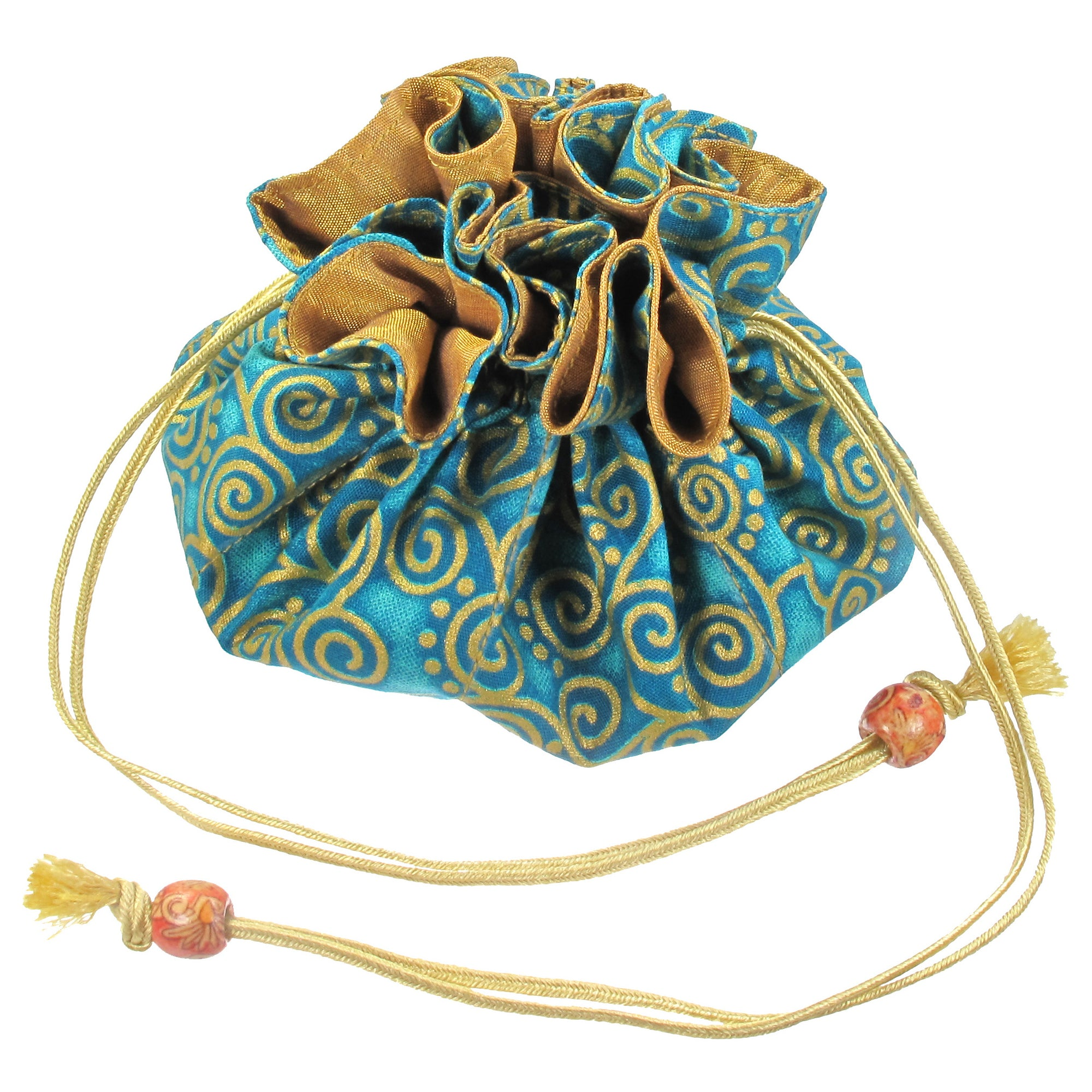 Handmade Drawstring Jewelry Pouch, 8 Pockets, Cotton, Aquamarine with Gold Swirls